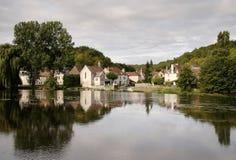 Riverside Village in France Stock Photos