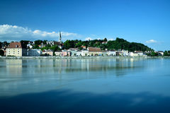 Riverside village. Village of Mauthausen at the river danube Stock Photo
