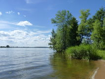 The riverside of Volga river. In summer nearby Kalyazin, Russia, Tverskaya oblast Royalty Free Stock Photography