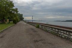 Riverside walk in Vidin town along river Danube, Bulgaria Royalty Free Stock Photography