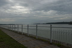 Riverside walk in Vidin town along river Danube, Bulgaria Royalty Free Stock Photos