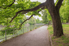 Riverside walkway beside isar river munich Royalty Free Stock Photography