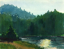 Riverside. Watercolor image of the coast of the forest river vector illustration