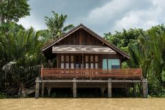 Riverside wooden Thai house with plam farm. Traditional riverside wooden Thai house with palm farming near Bang Pakong River, Chachoengsao, Thailand. Local royalty free stock photos