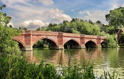 The RiverThames in England with Clifton Hampden bridge Stock Image