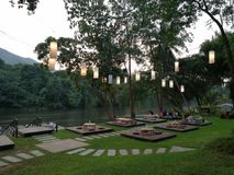 Riververside Restaurant in Kanchanaburi, Thailand. Outdoor Restaurant Pick Nick Garden Royalty Free Stock Image