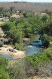 Riverview avec des hippopotames Photographie stock