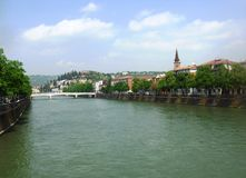 Riverwalk of Adidge river. In Verona, Italy. April Stock Images