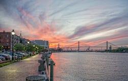 Riverwalk al tramonto Immagine Stock Libera da Diritti