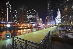 Riverwalk Chicago Arkivfoton