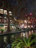 Riverwalk at Christmas stock photography
