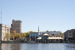 Riverwalk in Downtown Wilmington, NC. USA on a Clear Day royalty free stock images