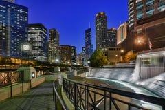 Riverwalk e fontana centennale Immagine Stock Libera da Diritti