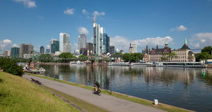 Riverwalk in Frankfurt Main, Germany stock video footage