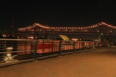 Riverwalk in New Orleans. Along riverwalk and view of Huey T. Long bridge Stock Photography