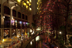 Riverwalk  in San Antonio at night at holidays Stock Image