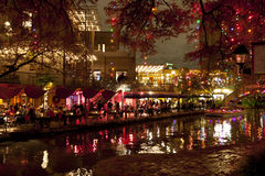 Riverwalk  in San Antonio at night at holidays Royalty Free Stock Images