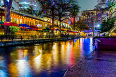 The Riverwalk at San Antonio, Texas, at Night. royalty free stock images