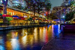 The Riverwalk at San Antonio, Texas, at Night. Night Time Scenic Views of the Riverwalk with Christmas Lights on a Rainy Day at San Antonio, Texas stock photo