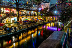 The Riverwalk at San Antonio, Texas, at Night. Stock Photography