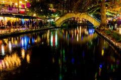 The Riverwalk at San Antonio, Texas, at Night. Royalty Free Stock Photo