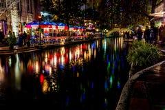 The Riverwalk at San Antonio, Texas, at Night. Stock Photography
