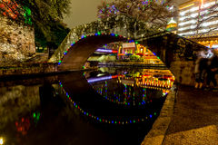 The Riverwalk at San Antonio, Texas, at Night. Night Time Scenic Views of the Riverwalk with Christmas Lights on a Rainy Day at San Antonio, Texas Royalty Free Stock Photography