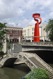 Riverwalk and Scuplture. Bridge and sculpture by the Riverwalk in San Antonio Texas Royalty Free Stock Photos