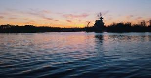 Riverwalk solnedgång Royaltyfri Foto