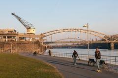 Riverwalk w Frankfurt, Niemcy Zdjęcie Stock