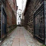 Rivesta di ferro il portone in fortezza medievale - castello di Vyborg Immagine Stock Libera da Diritti