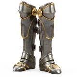 Rivesta di ferro l'alta armatura del cavaliere degli stivali di fantasia isolata su fondo bianco illustrazione 3D Immagini Stock Libere da Diritti