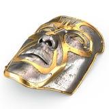 Rivesta di ferro la maschera sul fronte, con le inserzioni dell'oro su fondo bianco isolato illustrazione 3D Fotografia Stock
