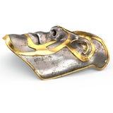 Rivesta di ferro la maschera sul fronte, con le inserzioni dell'oro su fondo bianco isolato illustrazione 3D Fotografia Stock Libera da Diritti