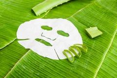 Rivesta la maschera con aloe su un fondo della foglia della banana Concetto organico dei cosmetici Fotografia Stock