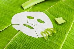 Rivesta la maschera con aloe su un fondo della foglia della banana Concetto organico dei cosmetici Fotografie Stock Libere da Diritti