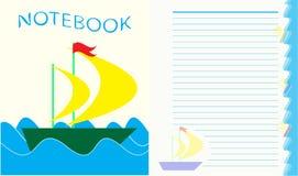 Rivesta per il taccuino del ` s dei bambini, barca sulle onde Fotografia Stock Libera da Diritti