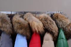 Rivestimenti caldi con i collari della pelliccia fotografie stock libere da diritti