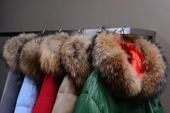 Rivestimenti caldi con i collari della pelliccia fotografia stock