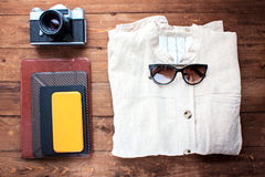 Rivestimento da lino, dagli accessori e dalle attrezzature immagini stock
