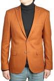 Rivestimento del vestito degli uomini di Brown, giacca sportiva bruno-arancio maschio con la toppa immagini stock
