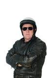 Rivestimento di cuoio da portare dell'uomo e casco biking Fotografie Stock Libere da Diritti