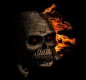 Rivestimento di legno del cranio terrificante lasciato con fuoco Immagine Stock Libera da Diritti