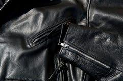 Rivestimento nero d'annata del motociclo del cuoio della pelle bovina Fotografia Stock
