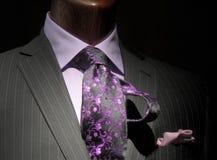 Rivestimento a strisce con la camicia & il legame viola Fotografie Stock Libere da Diritti