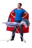 Rivestire di ferro del marito dell'uomo dell'eroe eccellente isolato su bianco Fotografie Stock Libere da Diritti