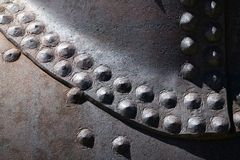 Rivet Heads in Rusted Steel Royalty Free Stock Images