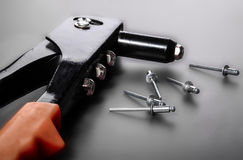 Rivet mounting and consumables. Gray Royalty Free Stock Image