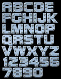 Riveted block alphabet. Riveted metallic alphabet you can compose Stock Photo