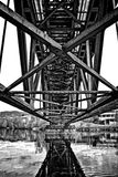 Riveted bridge seen from underneath stock photos